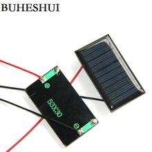 BUHESHUI 5V 30MA Mini Solar Cell+Cable Polycrystalline Solar Panel DIY Solar Charger 53*30*3MM Study Kits 10pcs Free Shipping