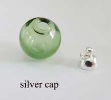 3x10/12/14/16/18/20/25mm new item green color glass globe bottle wishing vial & end top cap for diy jewelry earring materials