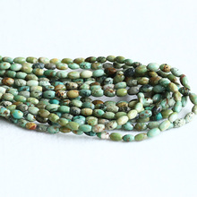 "Natural Genuine Green Blue Africa Turquoise Rice Oval Small Beads Fit Jewelry 15"" 05285(China)"