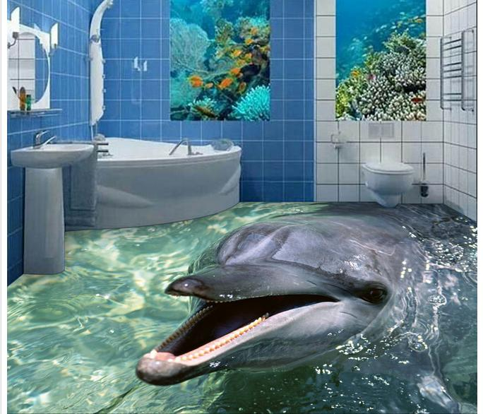 Customized 3d photo wallpaper 3d floor painting wallpaper 3 d dolphins bathroom floor tile 3d living room decoration<br>