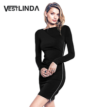 VESTLINDA Side Zipper Dress Women Bodycon Sheath Mini Dress Elegant Vestidos O Neck Long Sleeve Ladies Office Dress for Work