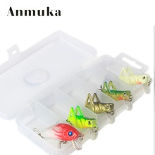 Anmuka 5 Pcs/Lot 3g 4cm Fishing Lure Artificial Locust Grasshopper Lures+mino Insect Shape Hard Bait Set + Fishing Tackle Box(China)
