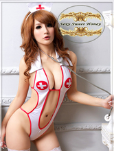 Hot selling sexy underwear, lady's sexy lingerie ,Open Front Backless Costume Nurse Suit + Hat Set Free shipping QF103