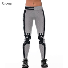Grooqr Black Checkered Paper Cut Printed Yoga Leggings Women Workout Elastic Running Gym Fitness Pants Sexy Sport Tigths