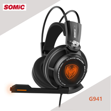 Somic G941 7.1 Virtual Surround Sound USB Gaming Headset with Vibrating Function Mic Voice Control Music Headphones