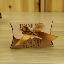 100PCS Rustic vintage Outdoor Wedding Decor MR MRS Flat Brown Paper Candy Box with Satin Ribbon dessert box centerpieces Home
