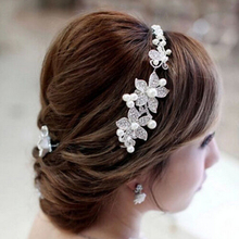 2016 Fashion Crystal Pearl Flower Party Wedding Hair Accessories Jewelry Bridal Headband Tiara Headwear Silver Plated ZXC75