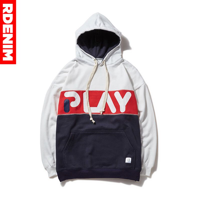 "Print Letter ""Play"" Fleece Hoodies Hip Hop  Sweatshirts Mens Patchwork Sweatshirts Male Thick Warm Casual Streetwear #RDRPW"