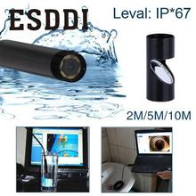 Esddi New 2/5/10M 5MM USB Endoscope Waterproof 6LED Inspection Snake Video Camera Scope Snake Inspection Tube Pipe Mini Cam Gift(China)