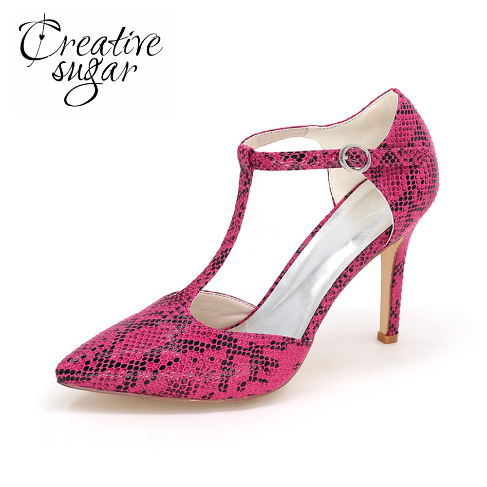 Creativesugar snake skin pattern pointed toe T-strap high heels wild style night club party lady shoes black white brown fuchsia<br>