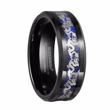 Queenwish 8mm Black Tungsten Rings Silver Color Dragon Black And Blue Carbide Inlay Wedding Engagement Rings For Couples(China)