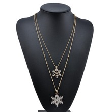 Buy Fashion Gold color Rhinestone Snowflake Pendant Long Chian Necklace Sweater Chain Double Layers Necklace & Pendant for $1.36 in AliExpress store