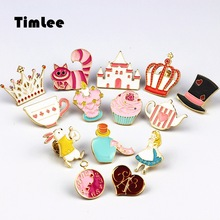 Timlee X227 Cartoon Anime Cute Wonderland Series Brooch Crown Design Metal Brooch Pins Gift Wholesale