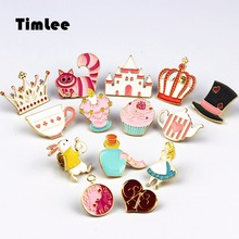Timlee X227 Cartoon Cat Cute Wonderland Enamel Pins Alice Brooch Crown Metal Brooch Pins Gift Wholesale(China)