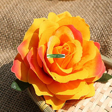 Prom 8pc Handmade Silk Fabric Artificial Rose Boutonniere Wedding Church Decor Corsage Wrist Flower Pearl Bracelet Orange FL5161