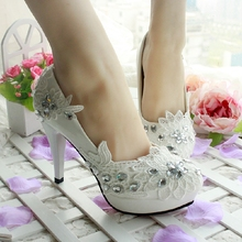 Qin Kuan Women Wedding Bridal White High Heels Lace Rhinestone Women Pumps Shoes Ladies Flowers Party Bridals Shoes Size 34-40(China)