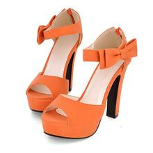 DRFARGO Butterfly Knot bow pump New summer Peep toe Ankle strap orange Sweet Thick high heel Sandals Platform Lady women shoes(China)
