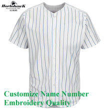 2017 New Arrival Baseball Jersey Custom Name Number Logo Embroidery Quality US Size Men's Grey Blue White Stripes Jersey