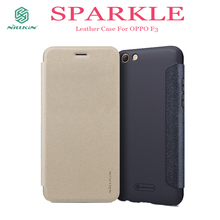 OPPO F3 phone Case NILLKIN Sparkle PU Flip Leather case hard back cover for OPPO F3 houseing mobile phone bag for OPPO F3 case