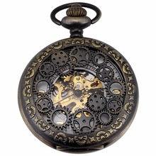 Luxury Golden Analog Hollow Case Men Mechanical Movement Pocket Watch With Long Chain Steampunk Hand Winding Clock Gift / WPK221