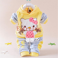 New Children Clothing Set Kids Autumn Character Cotton Long Sleeve Shirt + Pants 2 Piece Baby Girls Hello Kitty Clothing Sets(China)
