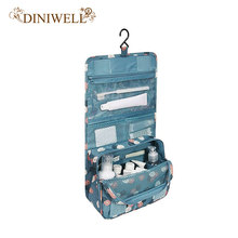 DINIWELL Unisex Blue Print Hanging Toiletry Clear Travel Storage BAG Cosmetic Carry Toiletry Organizer For Traveling Bathroom(China)