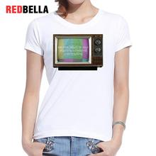 REDBELLA Women T-shirt Vintage 50s 60s Queen Pattern Elizabeth Television TV Retro Tee Shirt Femme Printed Casual Femininas New(China)