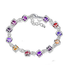 Silver Bracelets With Purple Crystal Cube Bracelets & Bangles For Women Party Special Accessory Femme Pulseira Jewelry Bijoux