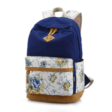 VSEN 2X Floral Canvas Bag Backpack School for Teenager Girl Laptop Bag Printing Backpack Women Backpack Royal Blue