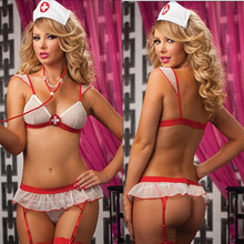 2016 New Cosplay temptation to three-point nurse costumes Sexy lingerie women perspective Chiffon Sexy underwear(Bra + T pants)