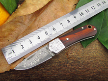 Damascus folding knife handmade rosewood gift knife Portable outdoor camping pocket knife free shipping