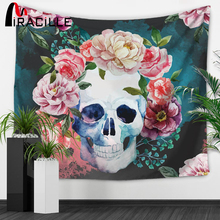 Miracille Punk Skull Art Tapestry Sugar Skulls Pattern Home Wall Hanging Art Hippie Tapestries Beach Throw Blanket Table Cloth(China)