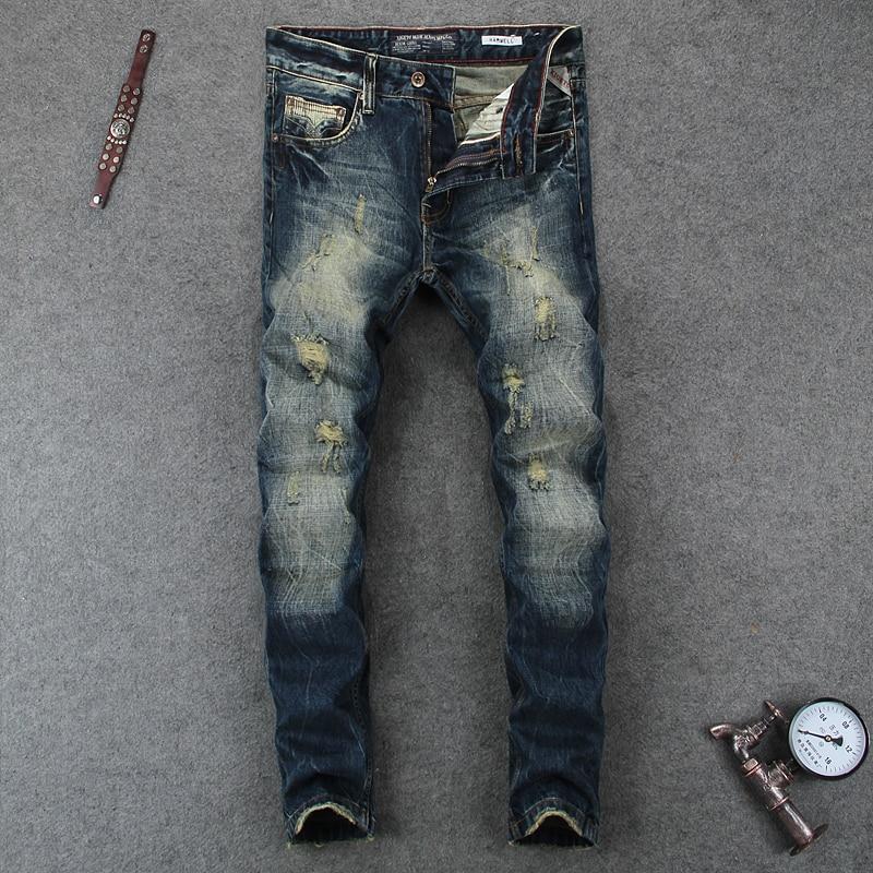Nostalgia Retro Design Fashion Men Jeans High Quality Dark Color Slim Fit Denim Stripe Jeans Mens Pants Destroyed Ripped JeansÎäåæäà è àêñåññóàðû<br><br>