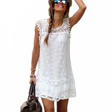 2017 Summer Style Plus Size S-XXL Women Casual Solid Short Sleeve Slim Lace Mini Dress Tops Ladies Sexy Vestidos