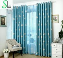 [Slow Soul] Hot Curtain Clouds Fresh Shading Cloth Room Children Blackout Hook Japanese And Printed Cartoon Curtains For Living(China)