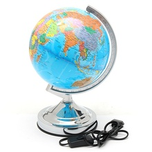 KiWarm New 10W Desk Rotating LED World Globe Lamp Kids Geography Map Earth Gift for School Home Office Decor Ornaments 20cm