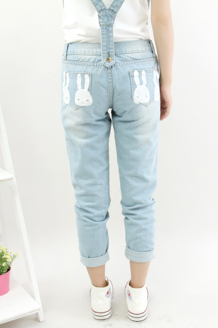 2015 New fashion Women Blue Striped Denim Distresses straps Detachable  long Overalls Washed hole student Jeans casual JumpsuitОдежда и ак�е��уары<br><br><br>Aliexpress