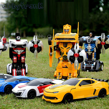 Abbyfrank Transportation Cars Transformation Car Toy Light Sound Dance Electric Car Models Action Toy Christmas Boy Gift(China)