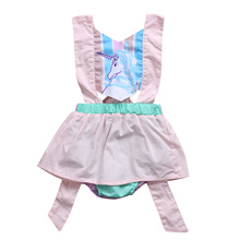 2017 Newborn Infant Baby Girls pink Unicorn Romper Princess Jumpsuit One-Pieces Outfits Summer Clothes