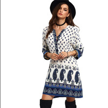 Robe Direct Selling Long Dress Ebay Of New Fund Of 2017 Europe And The Positioning Printing V-neck 7 Minutes Of Sleeve Dress(China)