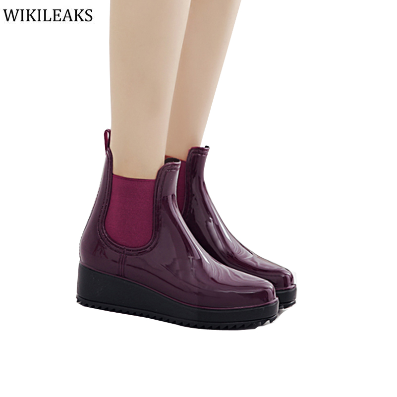 Botas mujer Increase height Sliming Flats Shoes Woman Wedges Rubber Superstar Designer Zapatos mujer Elastic Women Rain Boots <br><br>Aliexpress