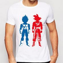 2017 Newest Men Fashion Blue and Red Goku Design T shirt Novelty Tops Dragon Ball Custom Printed Short Sleeve Tees(China)