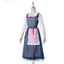 Movie Beauty and the Beast Princess Belle Women Apron Dress Cosplay Costume Full Set Maid Uniform Halloween Party Costumes(China)