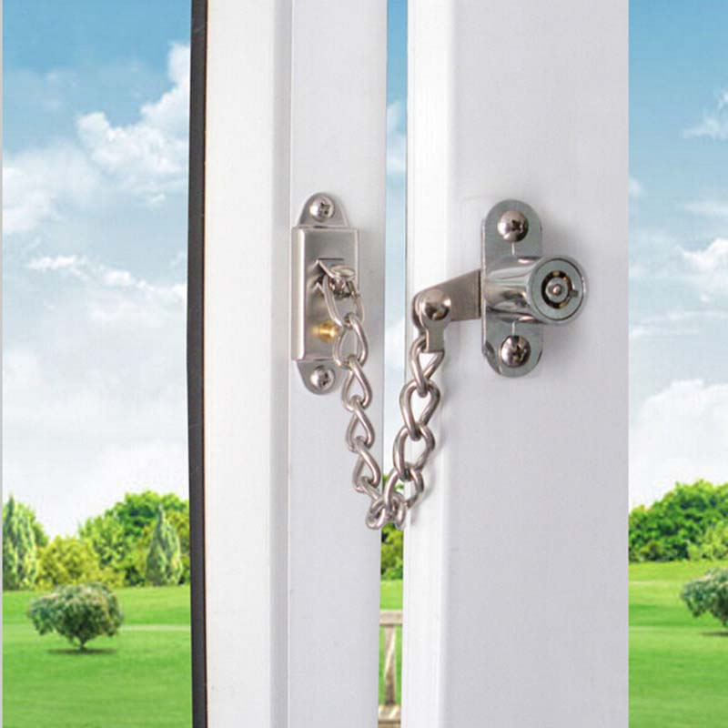 Lockable Window Security Chain Lock Door Restrictor Child Safety Stainless Key KF712<br>