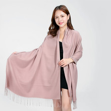 2017 Young Lady Long Cashmere Tassel Scarf Girls Soft Skin Pink Warm Scarves Neckerchief Women Winter Autumn Outdoors Shawl Wrap