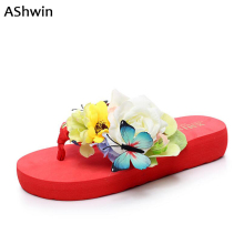 fashion women sandals fancy beach flip flops summer flower butterfly platform thong slipper seaside shoes comfort walking shoes(China)