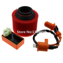 Scooter High Performance AC CDI Ignition Coil & High Flow Air Filter Kit For GY6 150cc 157QMJ, 1P57QMJ, 152QMI(China)