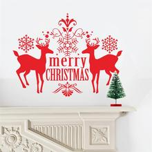 Merry Christmas Reindeer Stickers Animals Room Covers Decor Diy Vinyl Gift Home Decals Festival Mual Art Poster