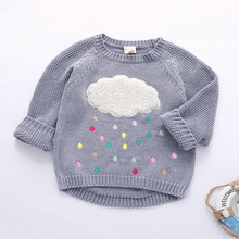 new winter cartoon baby girls sweater cloud raindrops kids clothes children sweater warm long sleeve for girls knitwear