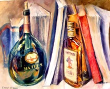 beautiful Painting Home Decor bottles and books Colorful oil paintings Canvas Modern Fine Art High quality Hand painted